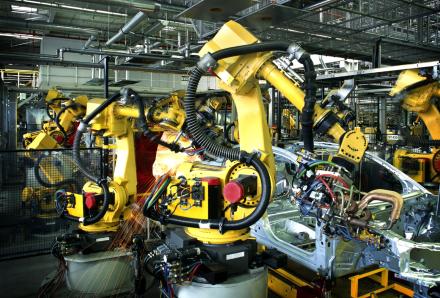 Automotive machines building cars